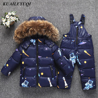 2018 New Baby Winter Down Jacket for Girl clothes Pants Suits Boy Coat parka real Raccoon fur kids Outfit children clothing Sets