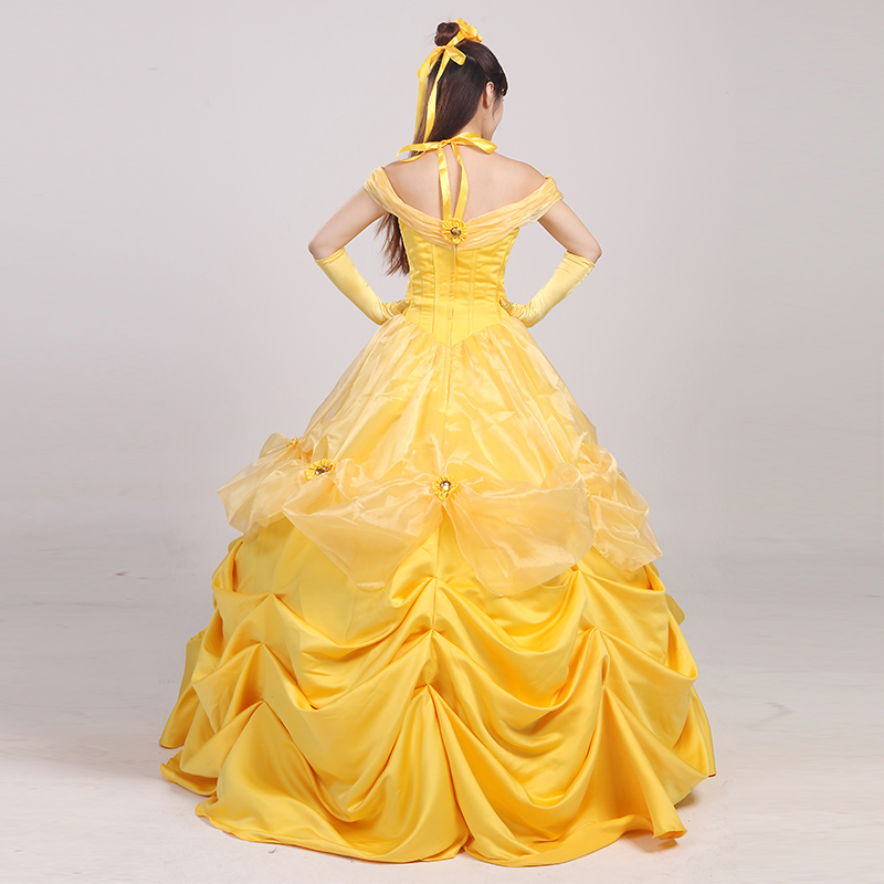 46b5845f0b Cosplay Women's the Beauty and Beast Princess Belle Cosplay Costume  Halloween Ball Gown Female Yellow Prom Costume CS342347 on Aliexpress.com |  Alibaba ...