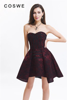 COSWE Lace Up Back Strapless Bridal Corselet Sheer Bustier Corset Black/Red/White Floral Print Elegant Corset Dress