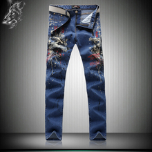 Top fashion personality angry wolf print boutique blue jeans Korean style slim nightclub high-quality straight jeans men 28-38