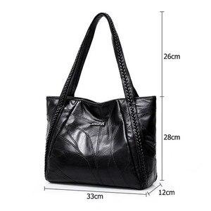 Image 5 - בציר גדול קיבולת עור מפוצל כתף שקיות נשים אופנה מוצק צבע שחור תיקי נקבה מזדמנים תיק גדול