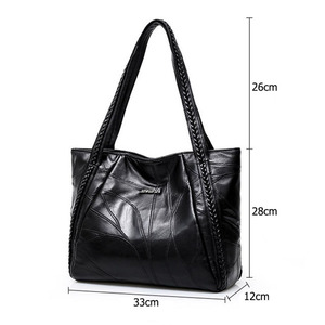 Image 5 - Vintage Large Capacity Pu Leather Shoulder Bags for Women Fashion Solid Color Black Handbags Female Casual Big Tote