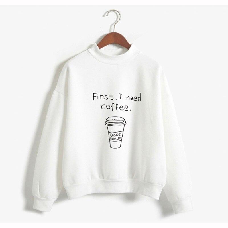 Autumn Winter Women Harajuku Hoodies Kawaii I Need Coffee Letter Print Sweatshirt Long Sleeve Turtleneck Fleece Girls Pullover