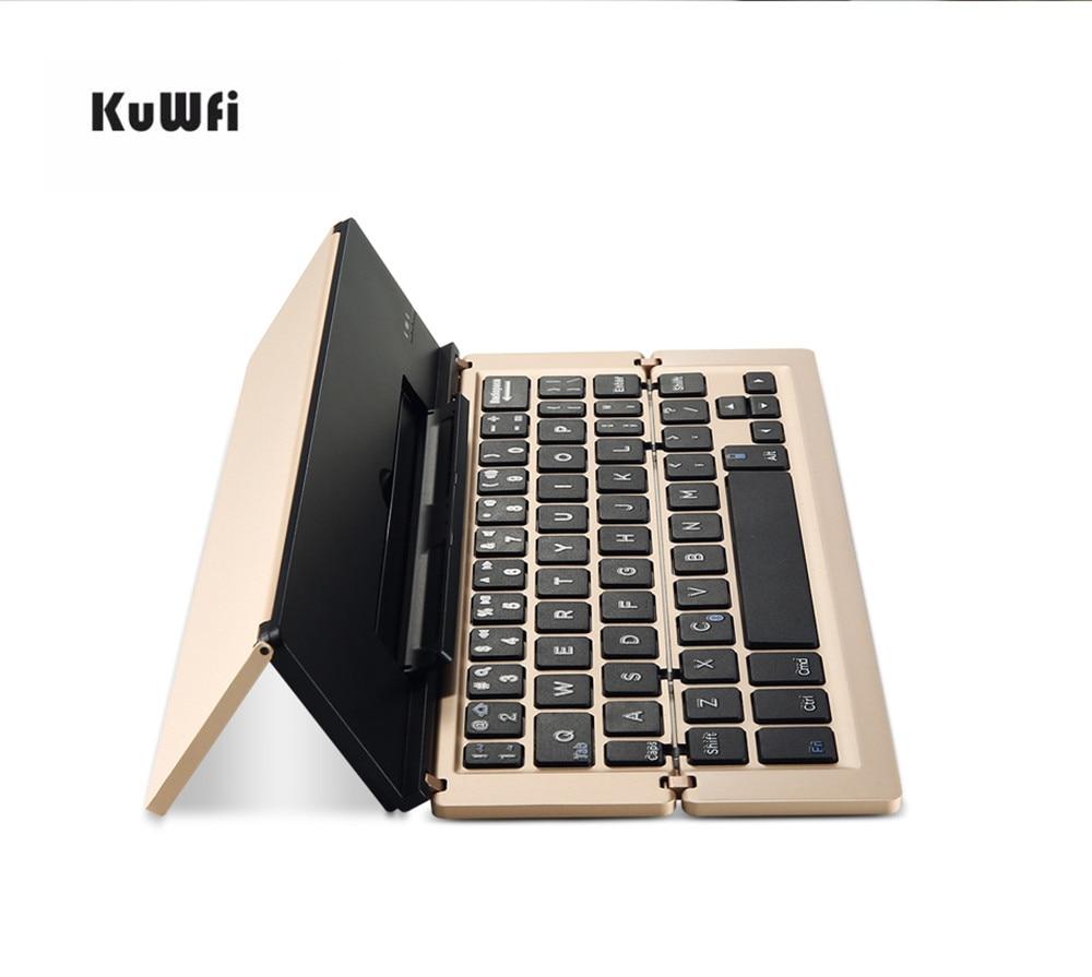 KuWfi Foldable Keyboard Wireless Bluetooth 3.0 Keyboard Laptop Tablet Phone Mini Keyboard for Android IOS Mac Windows стоимость