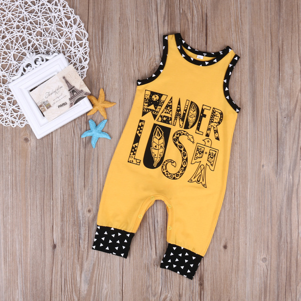 Newborn Baby Boys Boho Hippie Rompers Fashion Summer Sleeveless Letter One-Piece Jumpsuit Cotton Costume 2017 Drop Shipping в магазине духи escada ibiza hippie