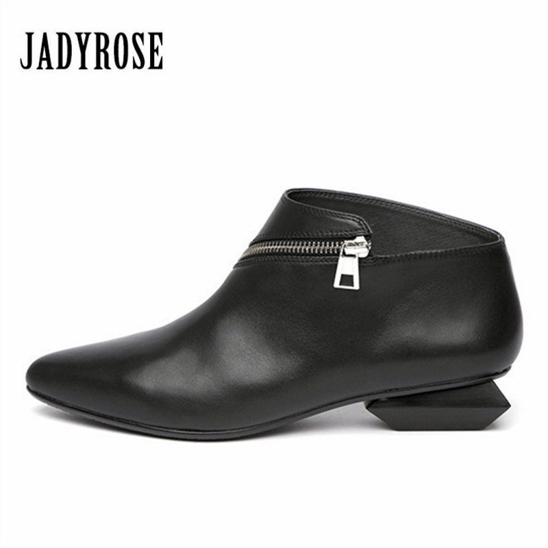 Jady Rose Black Women Ankle Boots Zip Design Genuine Leather Chunky Heel Pointed Toe Botas Mujer Women Short Rubber Martin Boots jady rose mixed color women ankle boots pointed toe chunky high heel booties suede lace up botas mujer women pumps