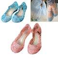Crianças Meninas Sandálias Sapatos Snow Queen Princesa Elsa Cosplay para Crianças Meninas Sapatos de Geléia de Cristal Azul crianças Buraco Cunhas Sandálias de Dança