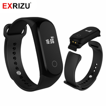 EXRIZU A16 Pedometer Smart Wristband OLED Screen Health Fitness Bracelet Sleep Heart Rate Monitor SMS Call Rerminder Band