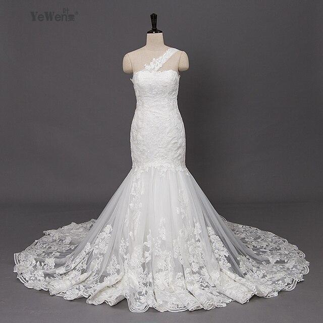 One Shoulder beach Ivory Lace Mermaid Wedding Dress 2018 Plus size ...