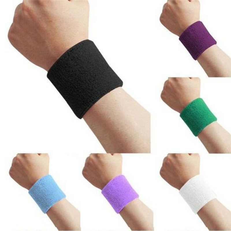 2 X Multi-Colour Sports Wrist Sweat Bands Arm Sleeve Unisex 80s Fitness Sweatbands Gym Tennis Basketball
