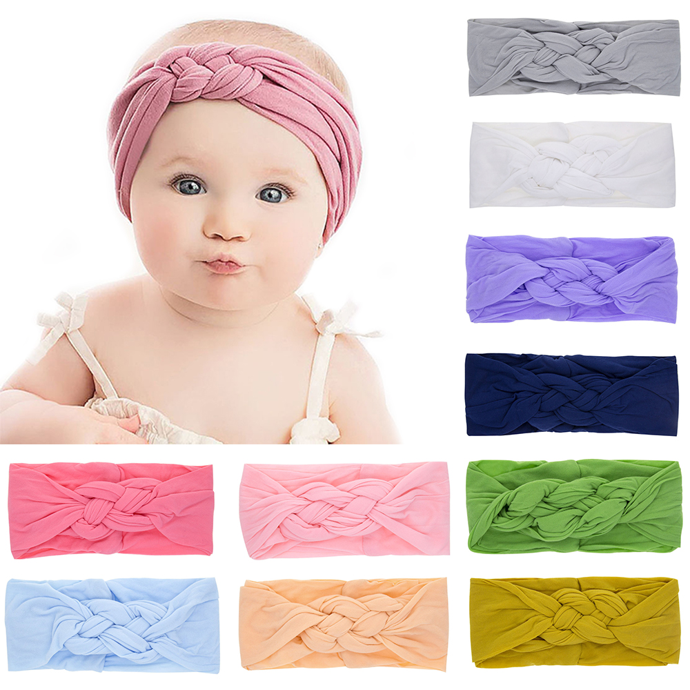 1PC Nylon Elastic Summer Solid Color Baby Headband Girls Twisted Knotted Hair Band Haarband Baby Headbands Infant Accessories