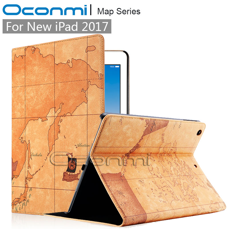 High quality World Map PU leather case for Apple iPad 2017 with credit card slots wallet cover for the New iPad 2017 case bovis 5102 02 casual man s pu credit name card wallet slots coffee