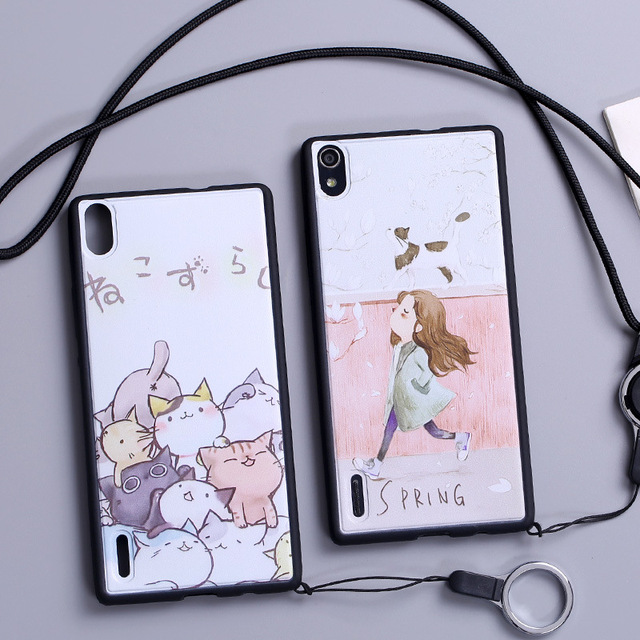 Case For Huawei Ascend P7 LTE P7-L10 back cover Silicone Painted Case Soft Cartoon Cute Girl Cat Phone Bags Protective Cases