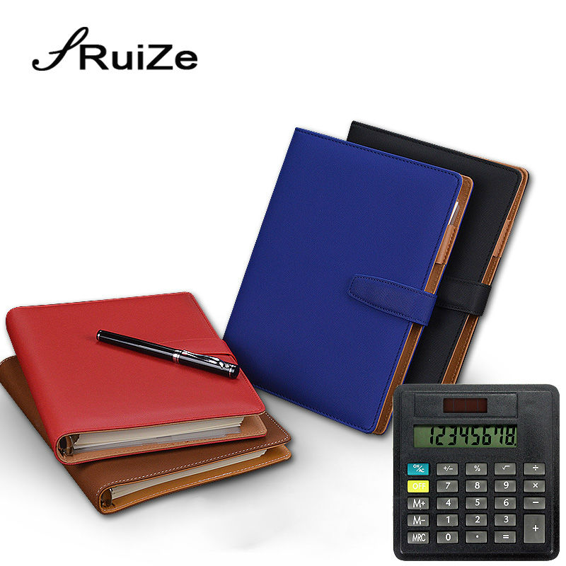 RuiZe 2017 creative stationery leather notebook A5 spiral notebook with calculator 6 ring binder planner organizer office supply kitdef390204unv20962 value kit deflect o three tier document organizer def390204 and universal round ring economy vinyl view binder unv20962