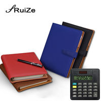 RuiZe 2019 creative stationery leather notebook A5 spiral notebook with calculator 6 ring binder planner organizer office supply
