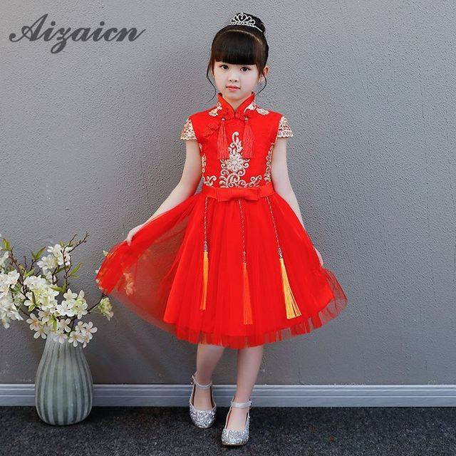 a2590b243e9 New Year Children Wedding Cheongsam Chinese Vintage Dress Flower Girl Piano  Skirt Red Qipao Tassel Embroidery Satin Dresses
