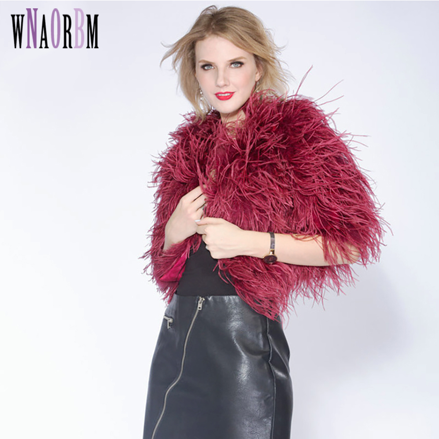 938a4d5002 AYUNSUE 2018 Women Real Fur Coat Genuine Ostrich Feather Shrug Short Winter  Jacket Natural Ostrich Fur ...