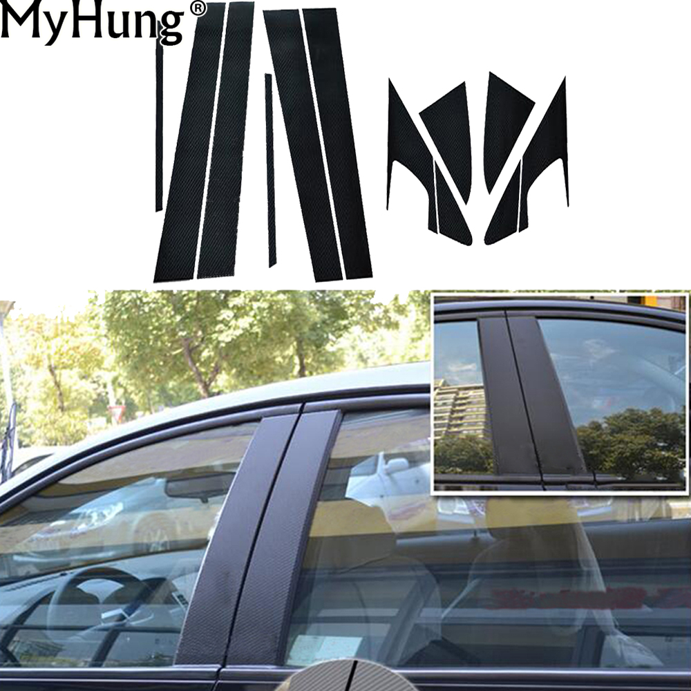 For Chevze Cruze 2009 To 2016 Car Exterior Accessories Carbon Fiber Decorative Window Center Pillar Sticker 12PCS Car Stickers