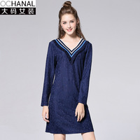 2017 Autumn New Large Size Women V Neck Ribs Dress Mattress Long Sleeve Deep V Neck