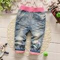 Мода Новорожденных Девочек Брюки Характер дети джинсы брюки Высокое Качество Ребенок Брюки Моды ковбой детские девушки брюки розничная
