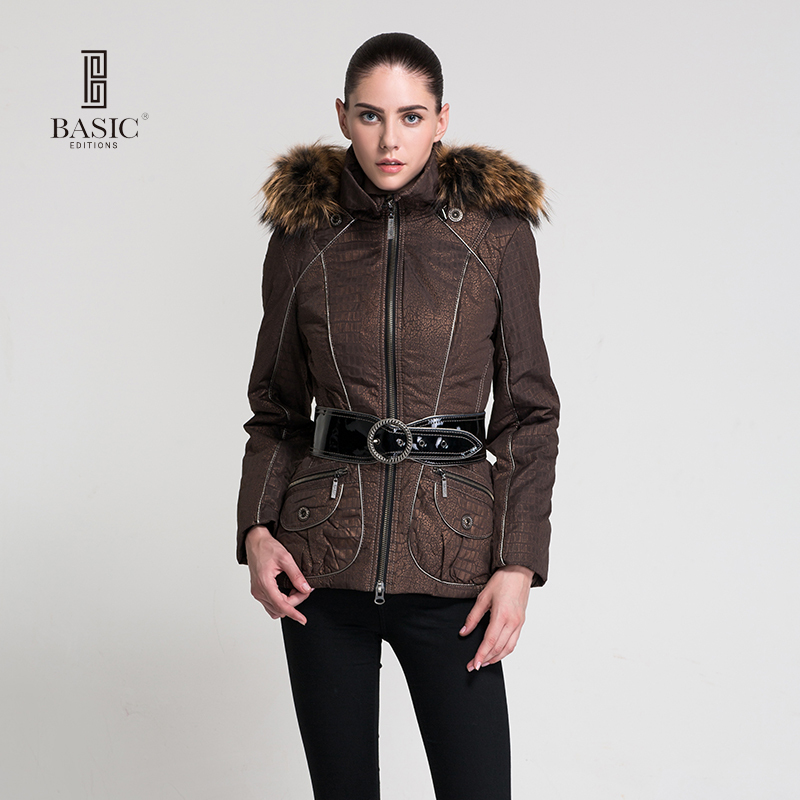 BASIC EDITIONS Autumn Winter New Arrival Women Clothing Female Coat Hooded Raccoon Fur Collar Short Cotton Jacket Z08052 2017 winter new clothes to overcome the coat of women in the long reed rabbit hair fur fur coat fox raccoon fur collar