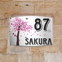 Сакура персонализированные современный дом номер двери знак налет Street акриловый матовый Стекло Топ