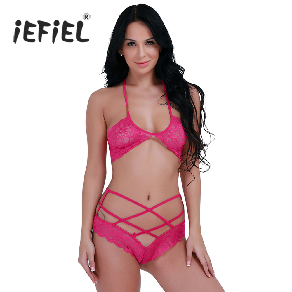 b3fb9d6c91 Detail Feedback Questions about iEFiEL 2pcs Rose Hot Pink Sexy Womens  Lingerie Lace Halter Bra With G string Underwear Set Brief Sets Sex  Intimates ...