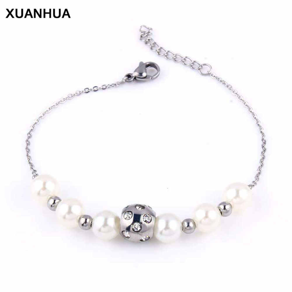 XUANHUA Stainless Steel Beads Bracelets For Women Hand Chain Bracelet Gifts For Women Bracelet Charms Fashion Party Jewelry