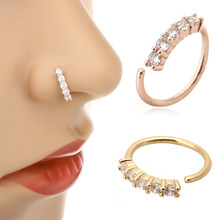 Shellhard Trendy 5 Crystals Nose Ring Vintage Rhinestone Stainless Steel Nose Hoop Ring For Women Femme Jewelry Bijoux(China)