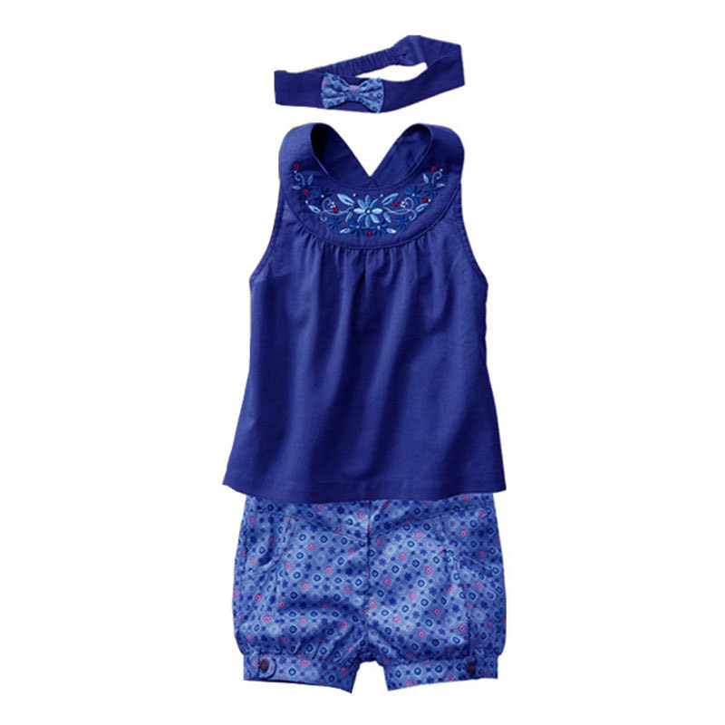 Baby-clothes-Fashion-Blue-baby-suits-Baby-kerchief-sleeveless-dress-gingham-plaid-pant-New-arrived-free-shipping-baby-clothes-1