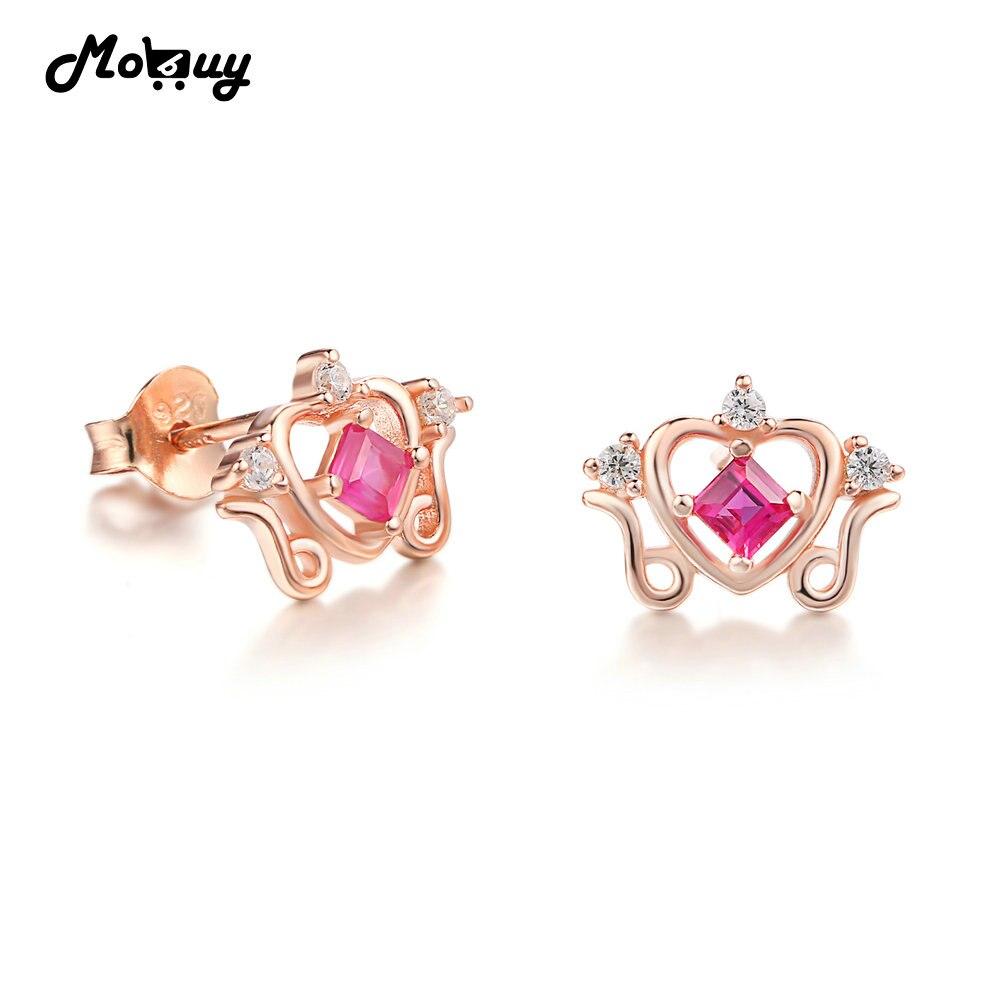 MoBuy MBEI043 природных драгоценных камней Рубин Princess Crown серьги стержня 925 розовым золотом серебряное кольцо Fine Jewelry для Для женщин