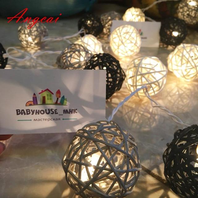 20pcs/sets black gray white mixed Handmade Rattan Wicker Balls String Lights Fairy Party Garland Patio Decor Night  lamp