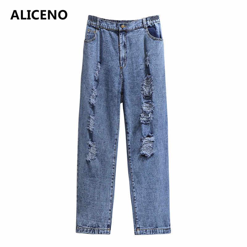 ALICENO de gran tamaño 2XL-6XL 60-150KG de desgaste de las mujeres de alta cintura rasgados pantalones vaqueros sueltos hasta el tobillo Casual lápiz Pantalones pantalones
