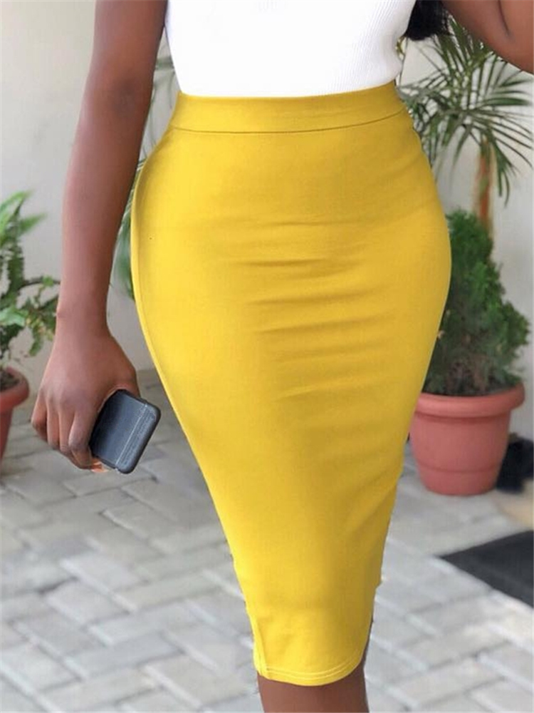 Women Pencil Skirt High Waist Slim Midi Solid Modest Classy Female Package Hip Jupes Falad Officewear Elegant All Match Fashion