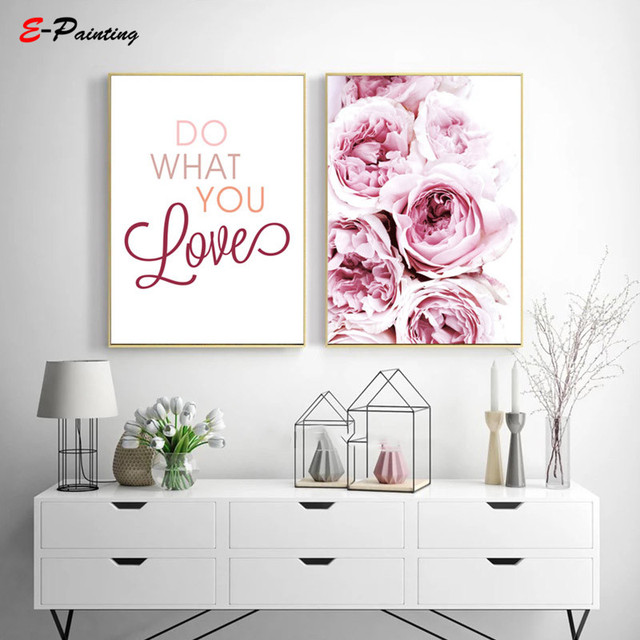 Modern Wall Painting Peony Poster Flower Tulip Rose Picture Decoracion Wall Art Canvas Print Nordic Illustraction