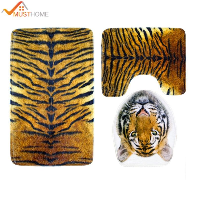 Aliexpress.com : Buy 3Pcs Tiger Pattern Bathroom Bath Mat