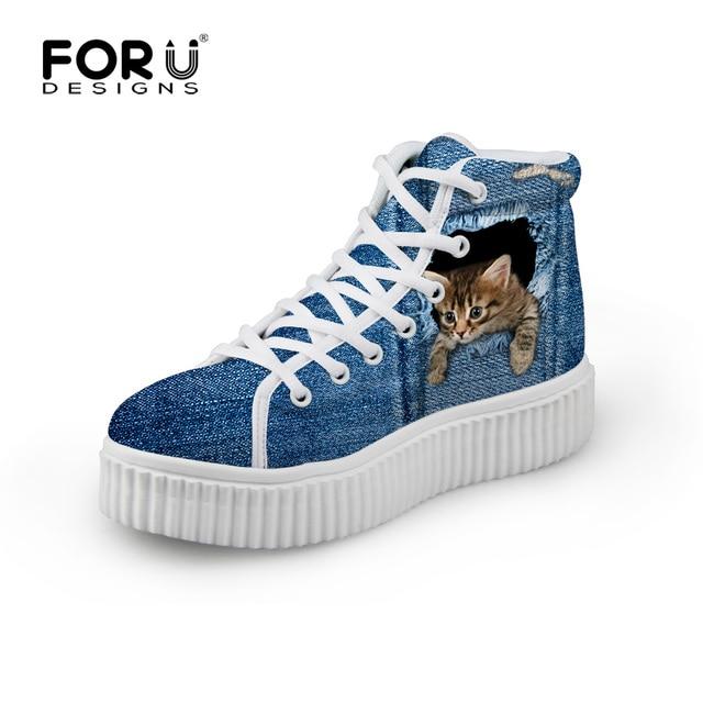 FORUDESIGNS Стильный Женщин Высокие Платформы Обувь, Симпатичные Pet Cat Синий Деним Печатных Обувь для Женщин, Повседневная Кружева-up Обувь Квартиры