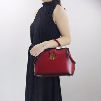 European Women Frame Handbag Female Shoulder Sling Bag Natural Leather Lady Office Handbag Simple Messenger Crossbody Bag