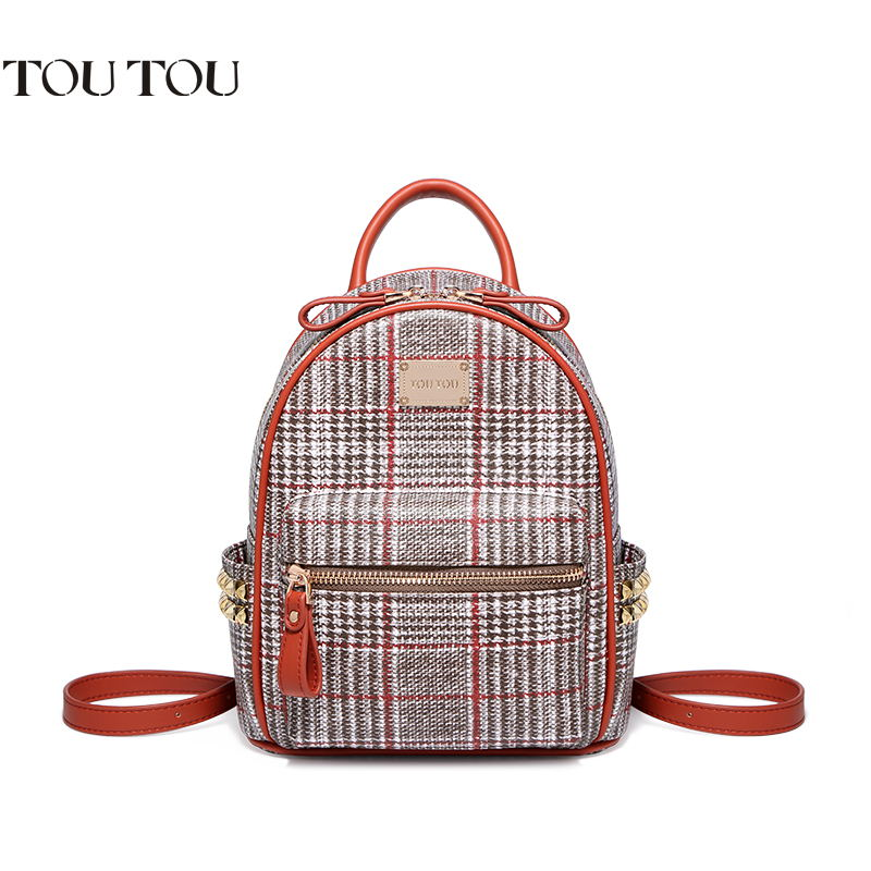 TOUTOU backpack In 2018 the new British institute of joker plaid Fashion and personality mini wind rivet backpack Free shipping цена