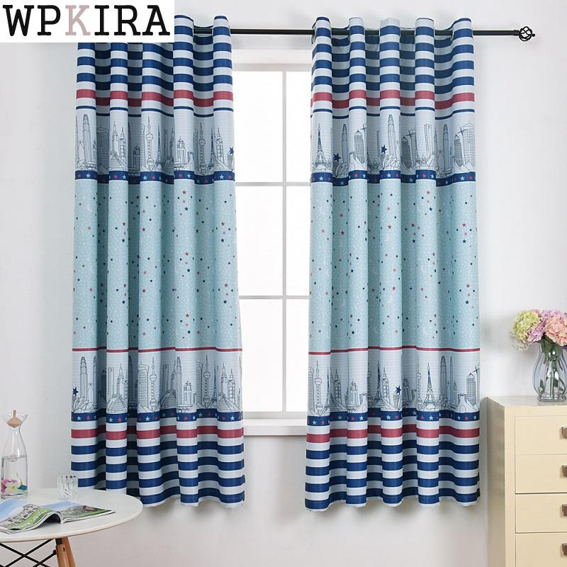 Azul cortina curta sala de crianças cozinha cortinas da janela para sala estar pano pode personalização rideaux pc023 & 30