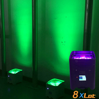 8X Lot Rasha Hex Chargeable 4leds*18W 6in1 RGABW UV APP Mobile Battery Powered Wireless LED Par Light LED Par Projector Uplight
