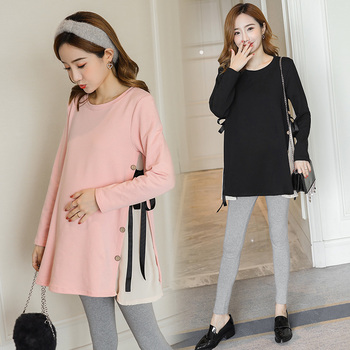 6627# Side Splits Bandage Maternity Shirts 2019 Spring Korean Fashion Loose Clothes for Pregnant Women Fall Pregnancy Tops Tunic 1