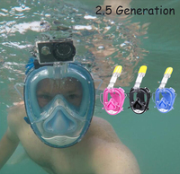 2.5 Generation upgraded SOFT NOSE Diving Mask Full Face Scuba Mask One piece Gasbag Anti fog Snorkeling Mask for Kids Adults