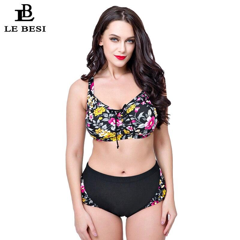 ФОТО LE BESI 2017 New Arrival Women's Plus Size Bikini Set High Waisted Swimwear Lace-up Swimsuit Floral Removable Padding Biquini
