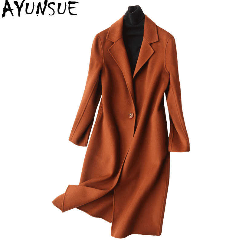 AYUNSUE 2019 Winter Coat Women 80% Wool Coat Female Autumn Double Woolen Jackets Long Jacket Outwear manteau femme hiver 37002