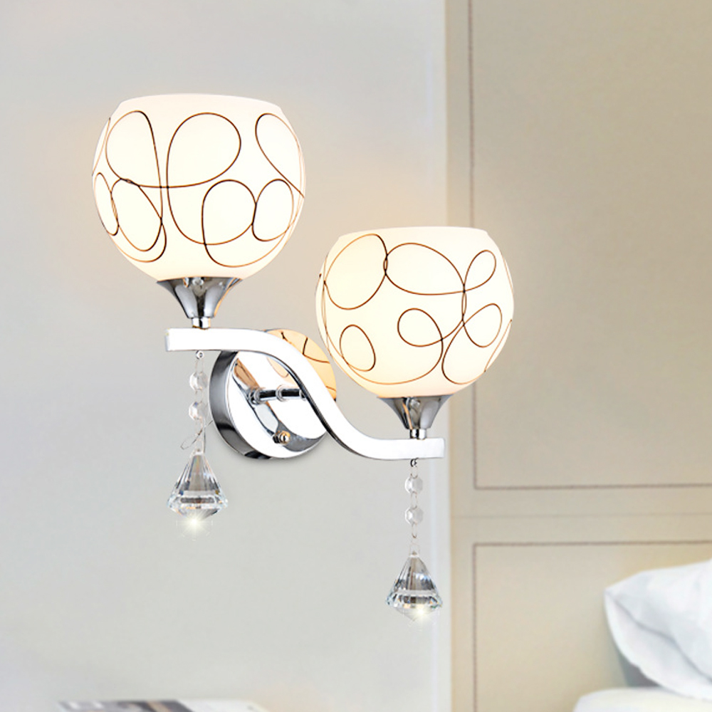 Fashion Frosted Glass lampshade wall lamp crystal led sconce loft home lighting Modern style bedroom wall mounted bedside lamp modern t shirt led wall lamp mounted light bedroom bedside sconce acrylic lampshade white painting indoor home lighting