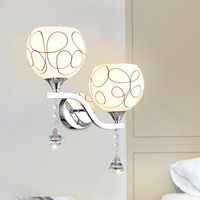 Fashion Frosted Glass Lampshade Wall Lamp Crystal Led Sconce Loft Home Lighting Modern Style Bedroom Wall