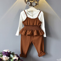 2017 Autumn Korean Children's Suits 3pcs Cotton White T Shirt+Harness Vest +casual Pants Flare Sleeves Tops Tees Baby Infant Set