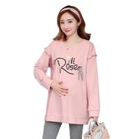 Pregnant women autumn 2018 new loose shirt letters fashion autumn long sleeved shirt pregnancy T shirt