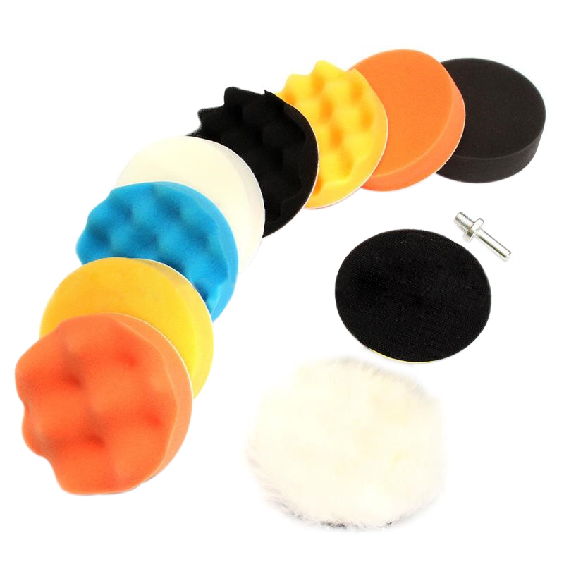 цена на 10 Pcs 3 Inch Sponge And Woolen Waxing Buffing Pads Kit Set Compound Auto Car Polisher With M14 Drill Adapter For Polishing